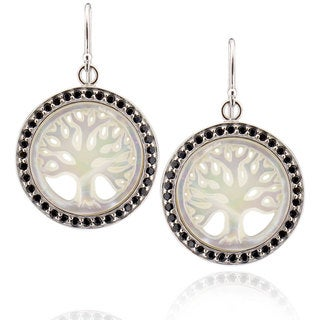Sterling Silver Round Mother of Pearl Earring (China)