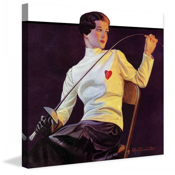 "Marmont Hill - ""Female Fencer"" by Alfred F. Cammarata Painting Print on Canvas"
