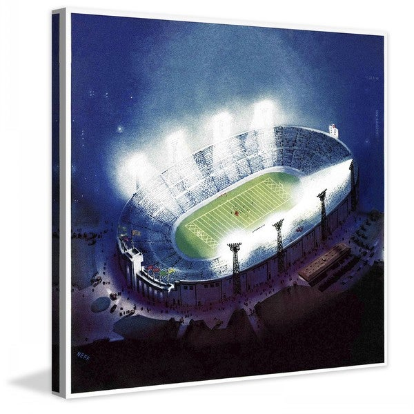 "Marmont Hill - ""Football Stadium at Night"" by Wesley Neff Painting Print on Canvas"