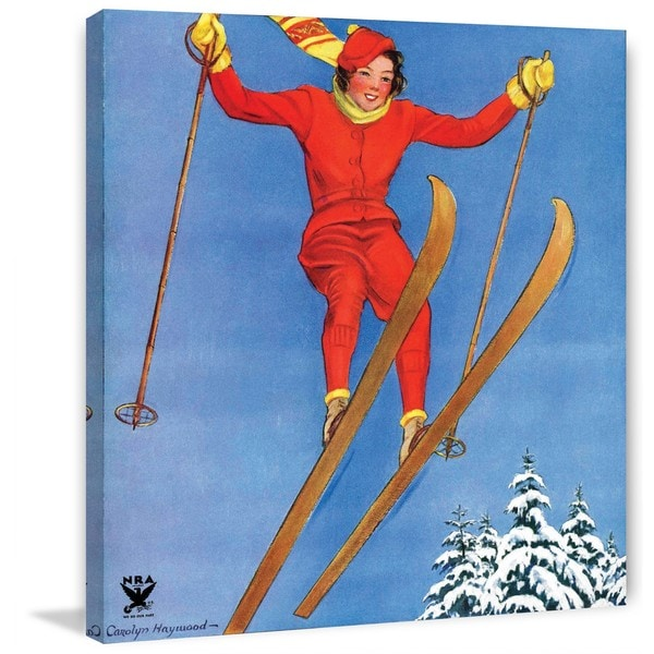 "Marmont Hill - ""Woman Ski Jumper"" by Carolyn Haywood Painting Print on Canvas"