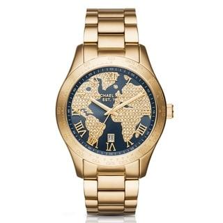 Michael Kors Women's Layton Navy Crystal Map Dial Gold-Tone Stainless Steel Bracelet Watch MK6243