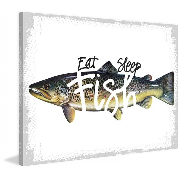 "Marmont Hill - ""Eat Sleep Fish"" by Saturday Evening Post Painting Print on Canvas"