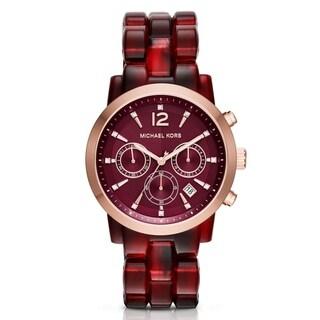 Michael Kors Women's Audrina Diamond Chronograph Wine Acetate Bracelet Watch MK6237