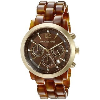 Michael Kors Women's Audrina Diamond Chronograph Brown Acetate Bracelet Watch MK6235