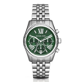 Michael Kors Women's Lexington Chronograph Green Dial Silver-Tone Stainless Steel Bracelet Watch MK6222