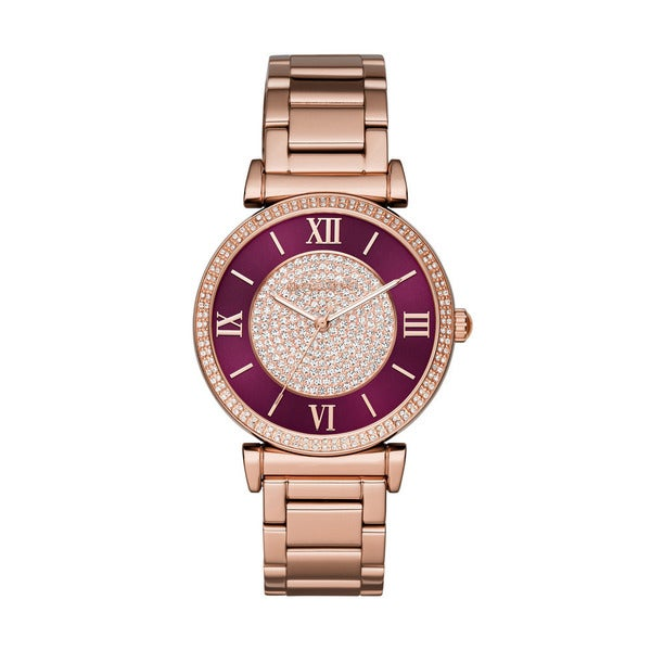 Michael Kors Women's Catlin Crystal Pave Wine Dial Rose-Tone Gold Bracelet Watch MK3412
