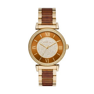 Michael Kors Women's Catlin Crystal Pave Amber Dial Two-Tone Bracelet Watch MK3411