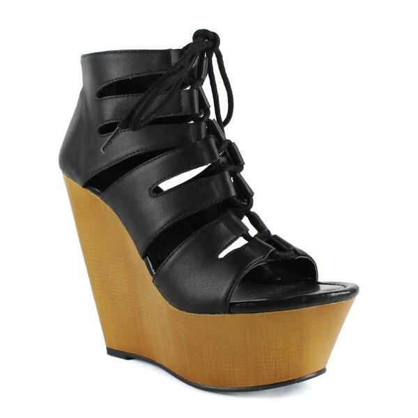 Fahrenheit Women's Ellen-05 Lace-up Wedge Sandal