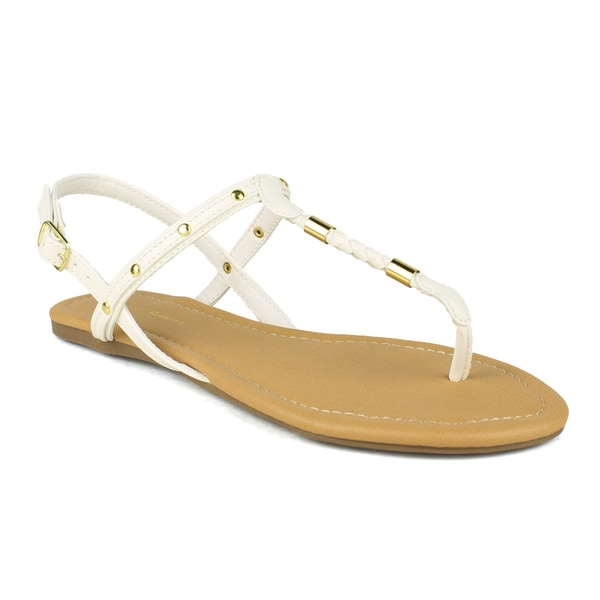 Mark and Maddux Women's Brandon-04 Gold Plated T-strap Thong Sandals