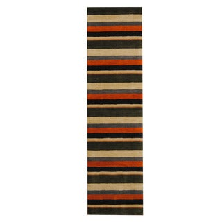 Herat Oriental Indo Hand-Tufted Tibetan Multicolor Wool Rug (2'8 x 10')