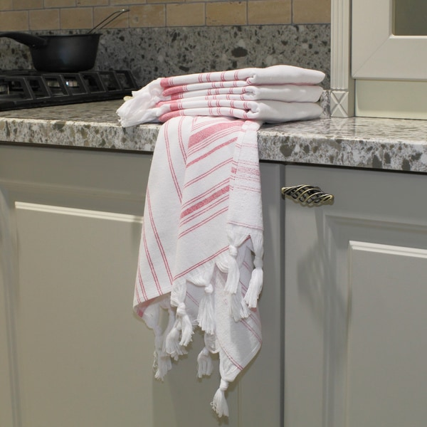 Vintage Red Stripe Turkish Cotton Kitchen Towels (Set of 4)