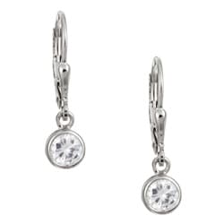 Sterling Essentials Sterling Silver Cubic Zirconia Leverback Earrings