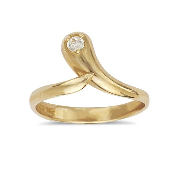 14k Yellow Gold Cubic Zirconia Adjustable Snake Toe ring