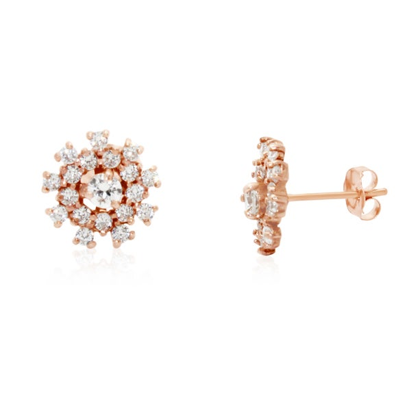 Gioelli 10k Rose Gold Cubic Zirconia Circle Stud Earrings