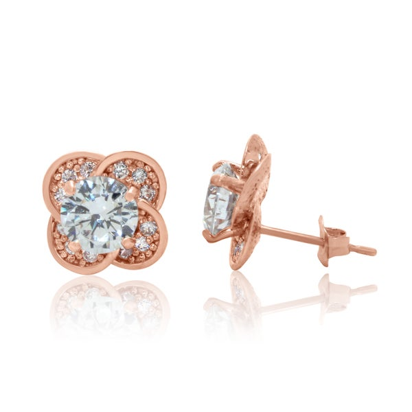 Gioelli 10k Rose Gold Cubic Zirconia Designer Flower Stud Earrings
