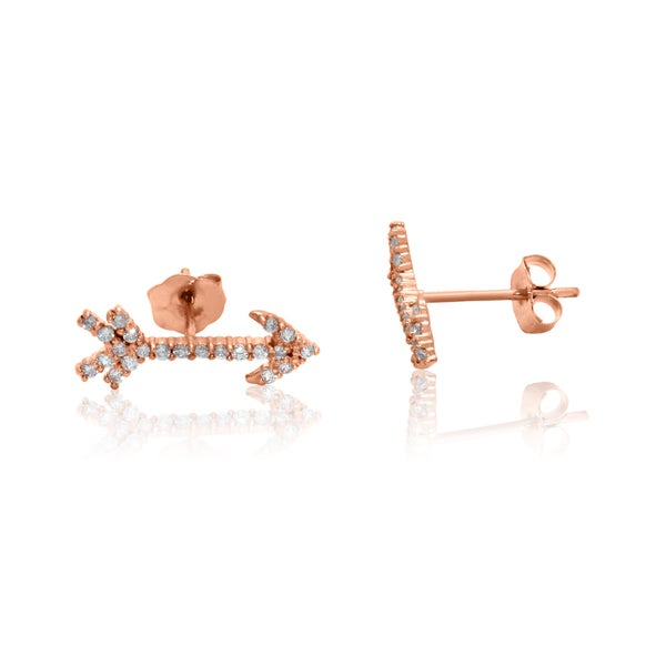 Gioelli 10k Rose Gold Cubic Zirconia Arrow Stud Earrings