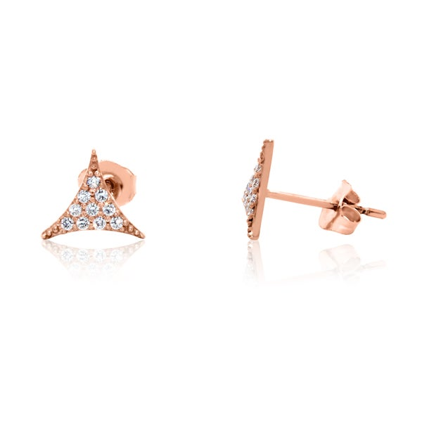 Gioelli 10k Rose Gold Cubic Zirconia Triangular Stud Earrings