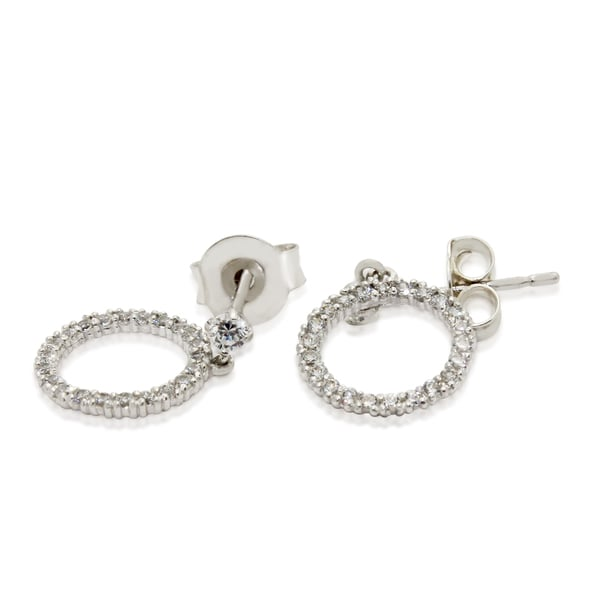 Gioelli 10k White Gold Cubic Zirconia Designer Circle Stud Earrings