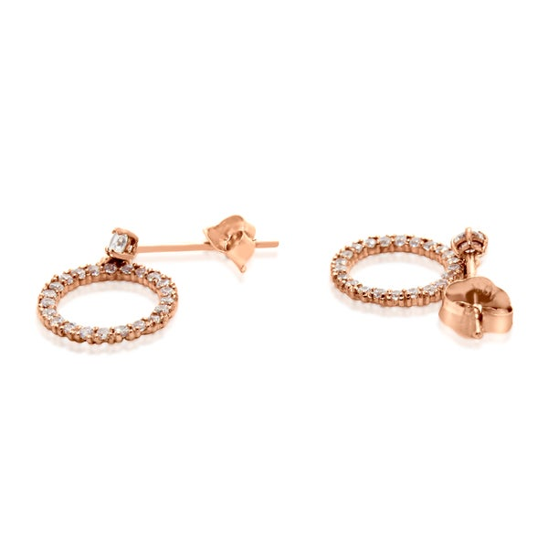 Gioelli 10k Rose Gold Cubic Zirconia Designer Circle Stud Earrings