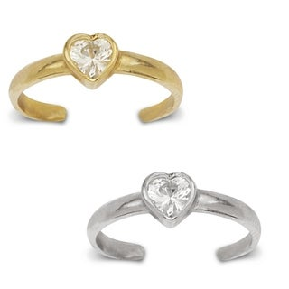 14K Yellow or White Gold Adjustable Heart-shaped Cubic Zirconia Toe Ring