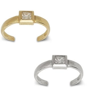 14K Yellow or White Gold Adjustable Princess-cut Cubic Zirconia Toe Ring