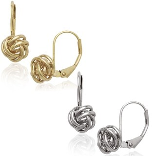 14k Yellow or White Stationary Love-Knot Leverback Earrings