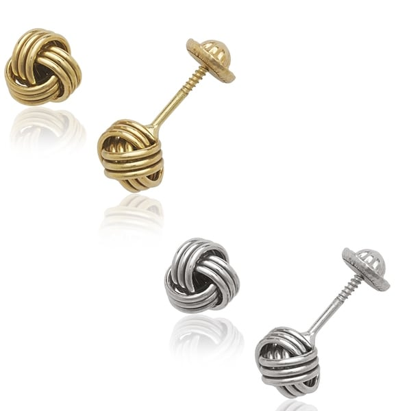 14k Yellow or White Ribbed Love-Knot Screw-back Earrings
