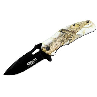 8-inch Defender Xtreme Woodland Camo Spring Assisted Knife