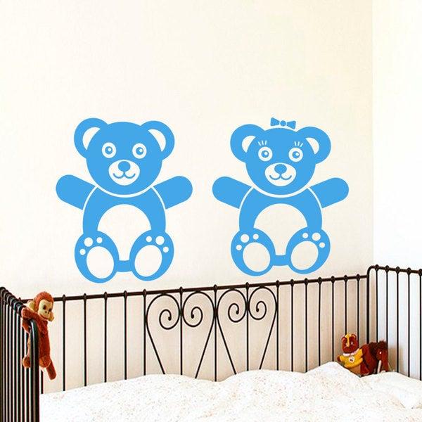 Teddy Bears Blue Vinyl Sticker Wall Art