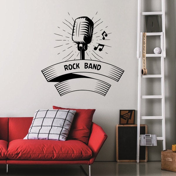 Rock Band Mic Vinyl Sticker Wall Art
