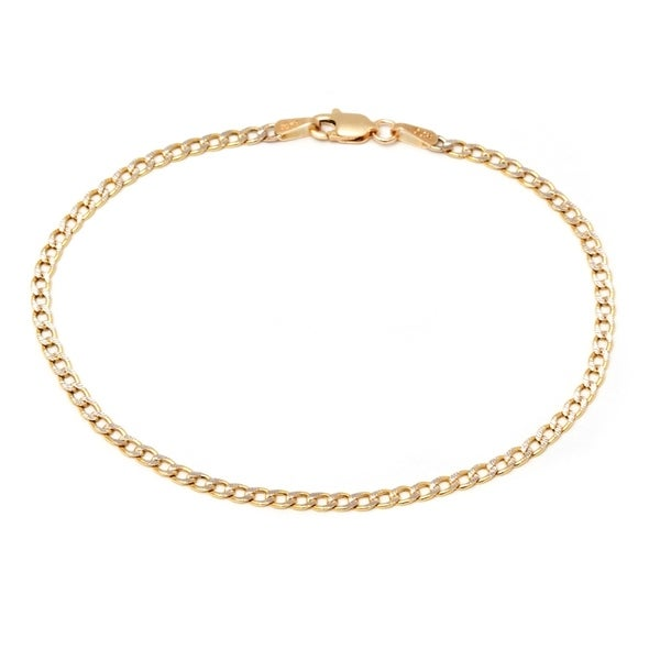 10k Two-tone Gold Cuban Diamond-cut Chain Bracelet