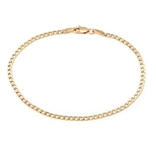 Pori 10k Two-tone Gold Cuban Diamond-cut Chain Bracelet