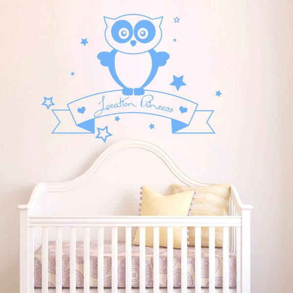 Location Princess Night Owl Stars Blue Vinyl Sticker Wall Art