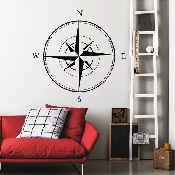 Compass Black Vinyl Sticker Wall Art