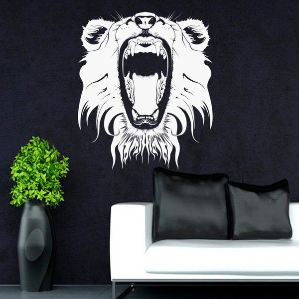 Lioness Head Lion Head White Vinyl Sticker Wall Art
