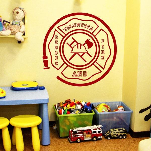 Volunteer Fire Rescue Logo Emblem Red Vinyl Sticker Wall Art