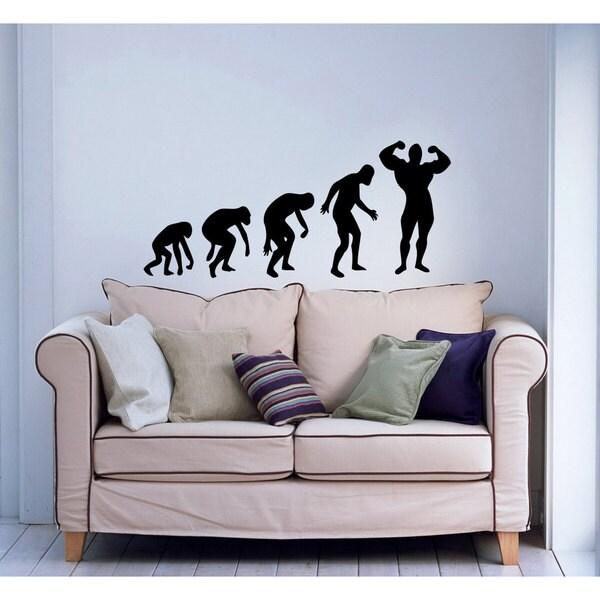 Bodybuilder GYM Evolution Black Vinyl Sticker Wall Art