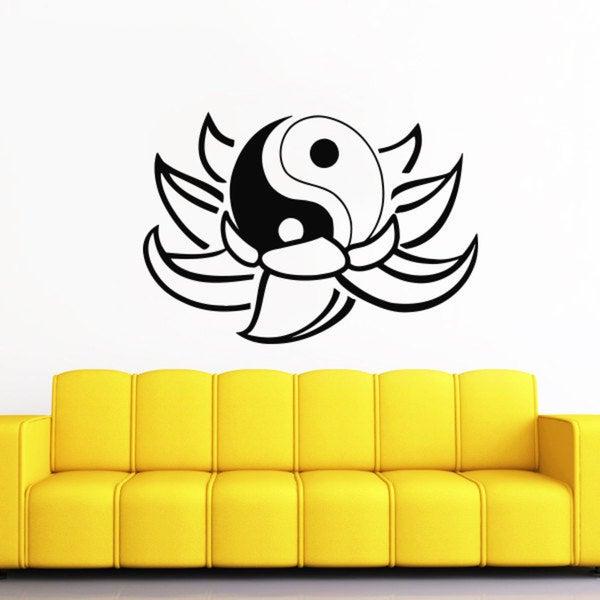 Lotus Flower Yin Yang Black Vinyl Sticker Wall Art