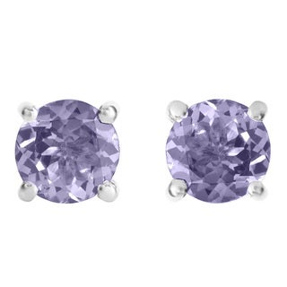 Divina Sterling Silver 1ct TGW Round Tanzanite Stud Earrings