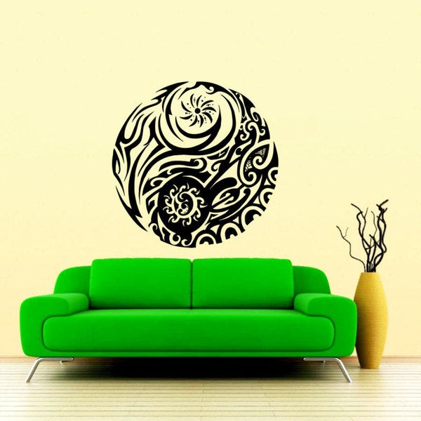 Tattoo Tribal Yin Yang Black Vinyl Sticker Wall Art