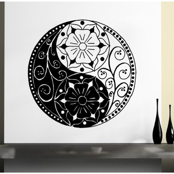 Floral Yin Yang Black Vinyl Sticker Wall Art
