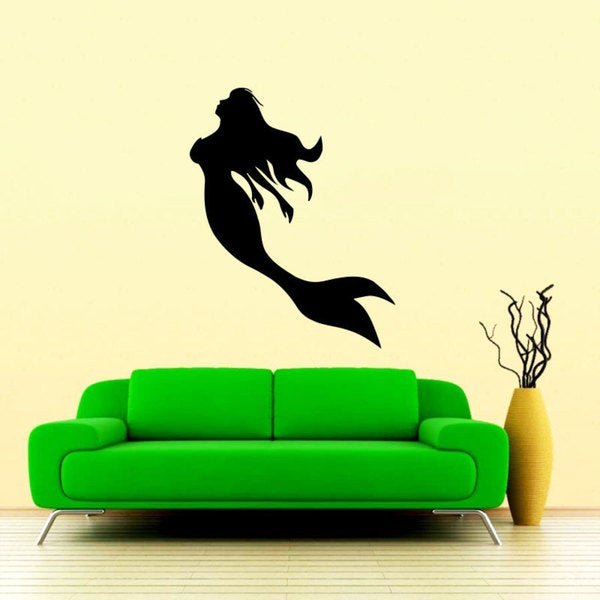 Swimming Mermaid Black Vinyl Sticker Wall Art