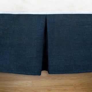 Burlap Navy Pleated 14-inch Drop Bedskirt