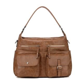 Vicenzo Leather Mazzini Distressed Leather Hobo Handbag