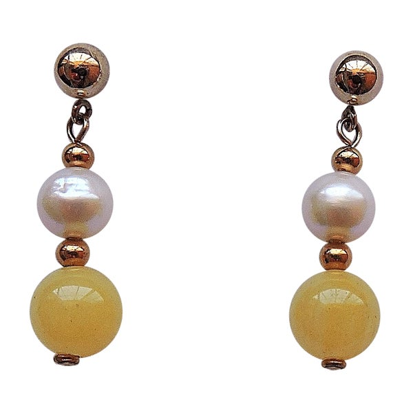 Yellow Jade a;nd Pearl Earrings