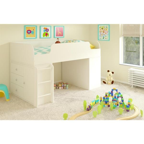 Altra Elements White Loft Bed with Two Storage Organizers by Cosco