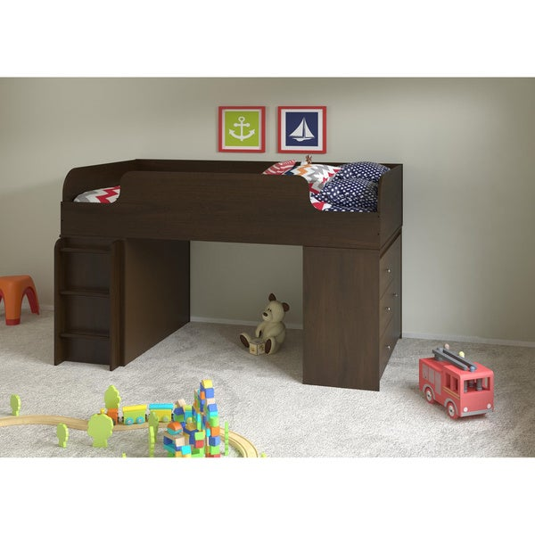 Altra Elements Resort Cherry Loft Bed with Dresser and Storage Organizer by Cosco