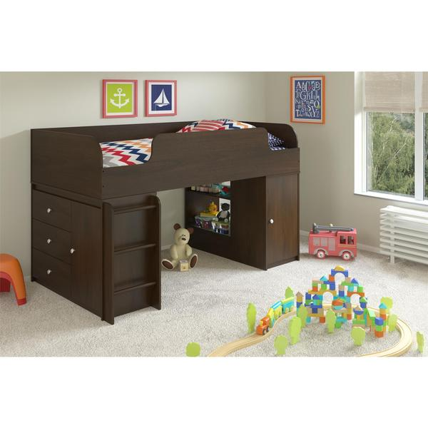 Altra Elements Resort Cherry Loft Bed with Storage Organizer and Toy Box Bookcase by Cosco