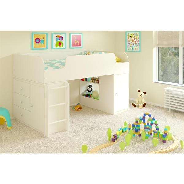 Altra Elements White Loft Bed with Storage Organizer and Toy Box Bookcase by Cosco