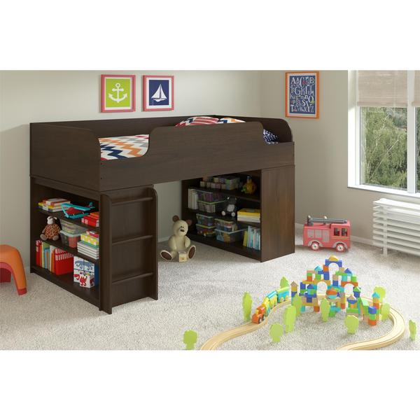 Altra Elements Resort Cherry Loft Bed with Two Bookcases by Cosco